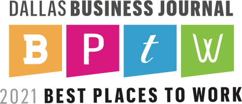 DBJ Best Places to Work 2021 Logo - Won by O'Brien Architects - Dallas TX